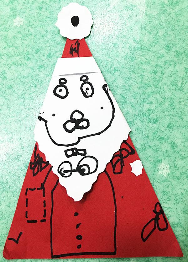 中班幼儿美工作品《圣诞老人卡片》