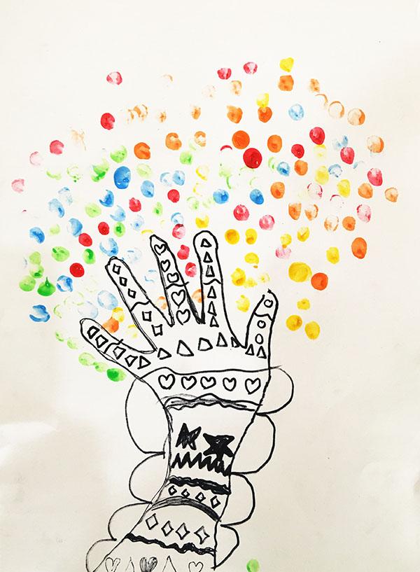 大班幼儿作品《手指树》