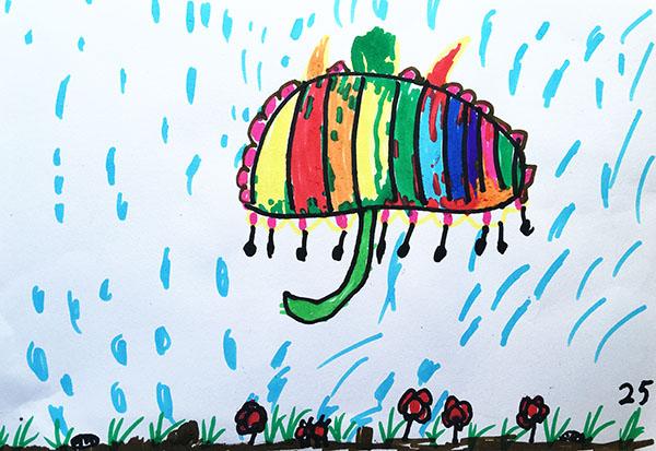 中班幼儿作品《我的小雨伞》