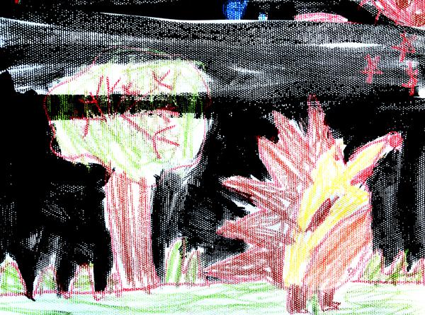 大班幼儿作品《黑夜里的小动物》
